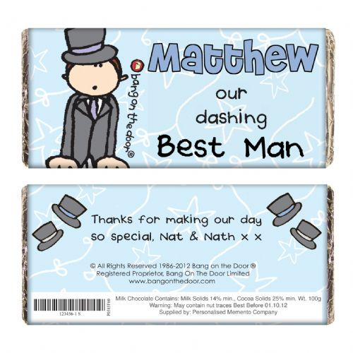 Personalised Bang on the Door Wedding Male Chocolate Bar
